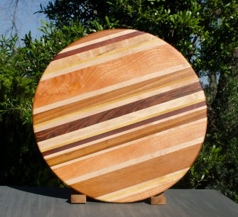 "Lazy Susan 17 - 03. Cherry, Hard Maple, Jatoba, Honey Locust & Black Walnut. Chaos Board. 18"" diameter."