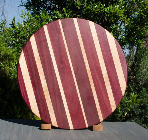 "Lazy Susan 17 - 11. Purpleheart & Hard Maple. 18"" diameter."