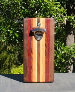 Magic Bottle Opener 17 - 622. Black Walnut, Paduak, Bubinga, Canarywood, Honey Locust & Yellowheart. Double Magic.