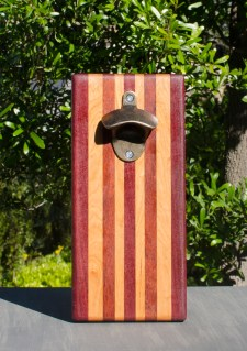 Magic Bottle Opener 17 - 623. Purpleheart, Cherry, Bubinga & Bloodwood. Double Magic.