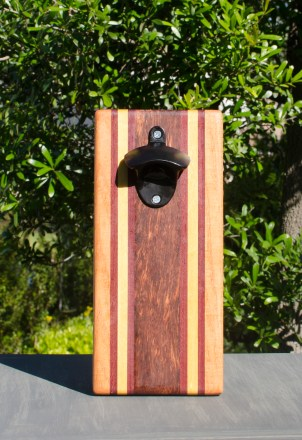 Magic Bottle Opener 17 - 626. Cherry, Bloodwood, Yellowheart & Bubinga. Double Magic.Magic Bottle Opener 17 - 6. Double Magic.