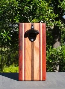 Magic Bottle Opener 17 - 634. Padauk, Hard Maple, Red Oak & Black Walnut. Double Magic.