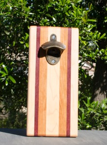 Magic Bottle Opener 17 - 640. Hard Maple, Purpleheart & Cherry. Double Magic.