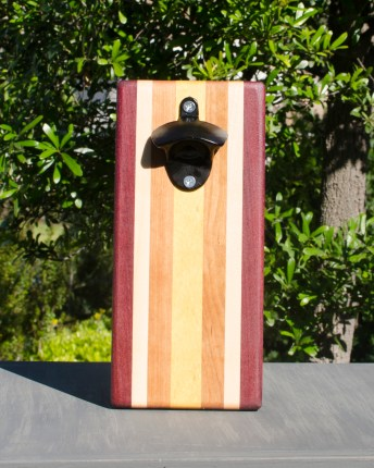 Magic Bottle Opener 17 - 902. Purpleheart, Hard Maple, Cherry & Yellowheart. Single Magic.