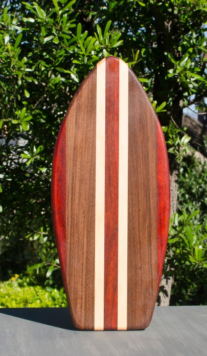 "Small Surfboard 17 - 501. Padauk, Black Walnut & Hard Maple. 7"" x 16"" x 3/4""."