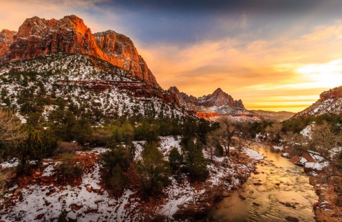 Zion National Park in Utah boasts some of the most scenic landscapes in the southwestern U.S. Within its 229 square miles are high plateaus, a maze of deep sandstone canyons and the gorgeous Virgin River. The soft scents of pine and juniper drift on the air. A winter sunset coloring the sky above this dramatic scene is an unforgettable experience. Photo by David Curry. Tweeted by the US Department of the Interior, 2/18/17.