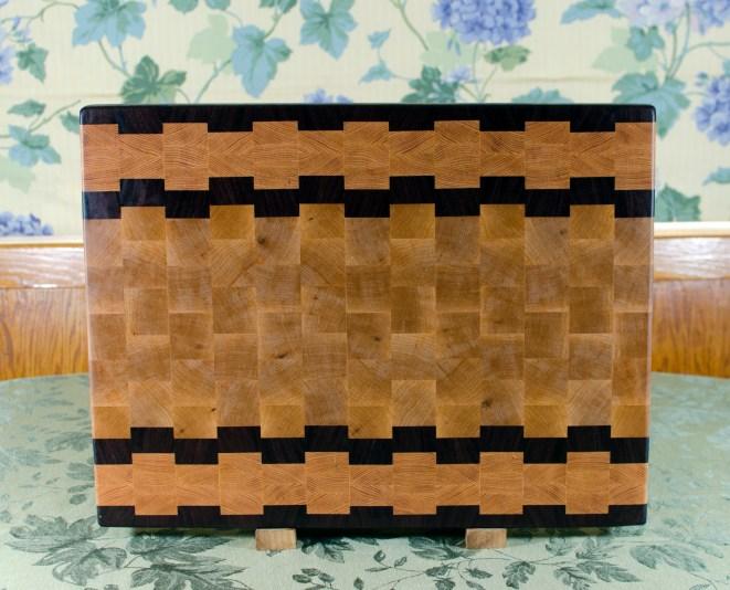 "Cutting Board 17 - 428. Jatoba, Honey Locust & Hard Maple. End Grain. 16"" x 21-1/2"" x 1-1/2""."