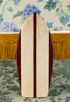 "Small Surfboard 17 - 505. Padauk & Hard Maple. 7"" x 16"" x 3/4""."