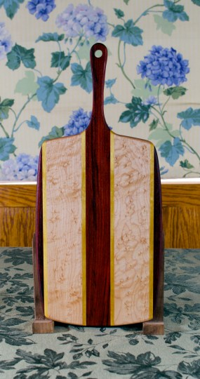"""Sous Chef 17 - 910. Padauk, Yellowheart & Birdseye Maple. Large size, with the work space approximately 9"""" x 15"""", with the handle extending for an additional 6""""."""
