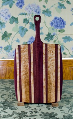 """Sous Chef 17 - 917. Purpleheart & Birdseye Maple. Large size, with the work space approximately 11"""" x 15"""", with the handle extending for an additional 6""""."""