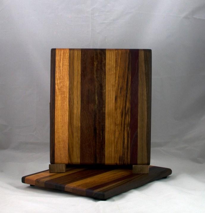 "Cheese Board 17 - 325. Chaos board, with a dark blend. 8"" x 11"" x 5/8""."