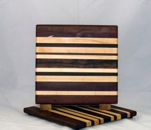 "Cheese Board 17 - 328. Purpleheart, Hard Maple, Sapele, Caribbean Rosewood & Bubinga. 9"" x 11"" x 3/4""."