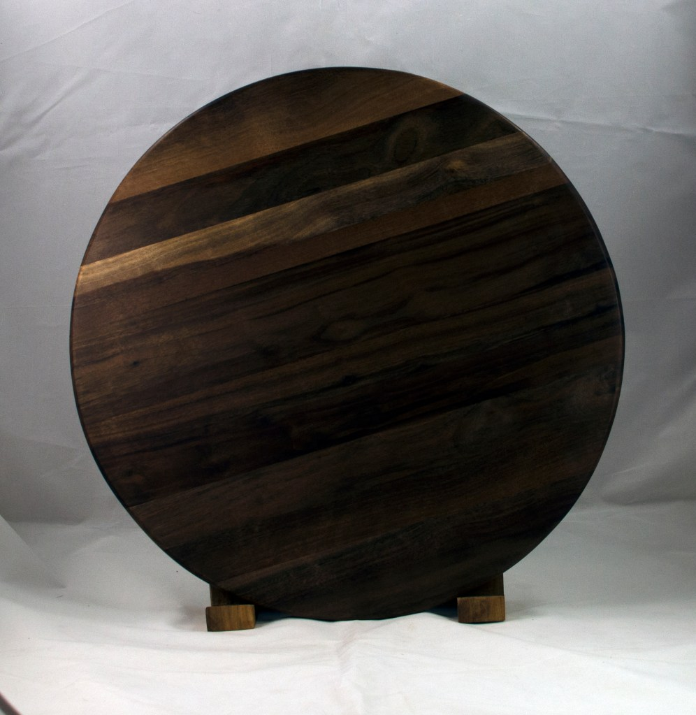 "Lazy Susan 17 - 16. Black Walnut. 17"" diameter."