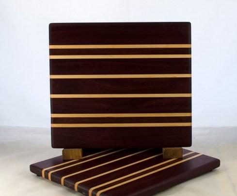 "Cheese Board 17 - 334. Purpleheart, Bubingba & Cherry. 9"" x 11"" x 5/8""."