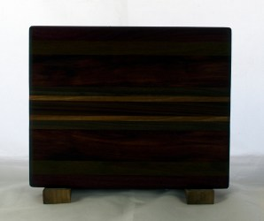 "Cheese Board 17 -342. Purpleheart, Bubinga, Cherry & Bloodwood. 8"" x 11"" x 5/8""."