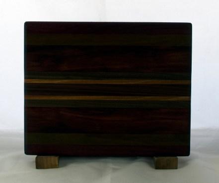 "Cheese Board 17 -342. Purpleheart, Bubinga, Cherry & Bloodwood. 8"" x 11"" x 5/8""."