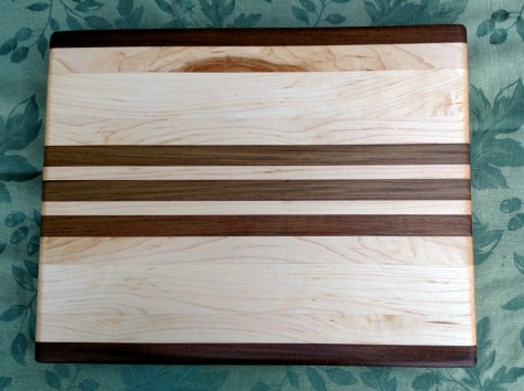 "Cutting Board 17 - 126. Edge grain. Jatoba & Hard Maple. 12"" x 16"" x 1-1/4""."