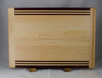 "Cutting Board 17 - 128. In-counter board replacement. Hard Maple, Purpleheart, & Jatoba. 14"" x 20"" x 3/4"". Commissioned piece."