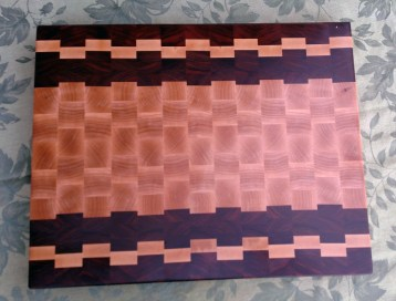 "Cutting Board 17 - 430. Purpleheart, Hard Maple & Pau Ferro. 14"" x 21"" x 1-1/2""."