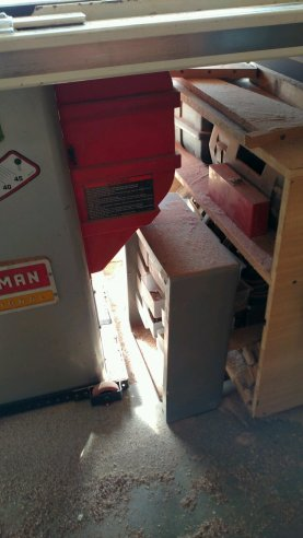 Under the table saw, another drawer unit of hardware, collecting dust until I can properly place it.