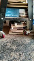 Below the jig storage, here is lumber just stacked on the floor. Not. Good.