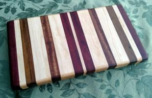 "Small Board 17 - 231. Purpleheart, Jatoba, Hard Maple and Bloodwood. 7"" x 12"" x 1-1/4""."