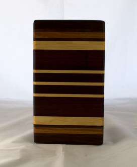 """Small Board 17 - 235. Purpleheart, Cherry, Black Walnut & Pau Ferro. 6"""" x 11"""" x 1-1/4""""."""