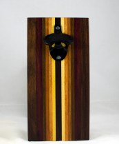 Magic Bottle Opener 17 - 651. Black Walnut, Purpleheart, Jatoba, Canarywood, Cherry, Honey Locust, Yellowheart. Double Magic - means it can fridge mount or wall mount.