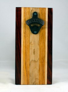 Magic Bottle Opener 17 - 654. Padauk, Hard Maple, Honey Locust. Double Magic - means it can fridge mount or wall mount.