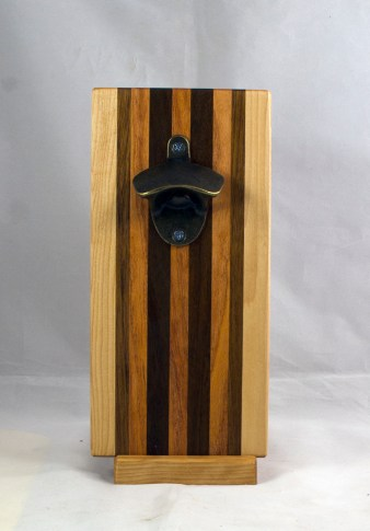 Magic Bottle Opener 17 - 661. Hard Maple, Teak, Canarywood & Pau Ferro. Double Magic.