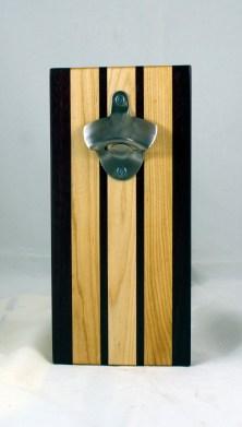 Magic Bottle Opener 17 - 913. Purpleheart & Hard Maple. Single Magic = Wall mount only!