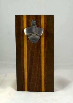 Magic Bottle Opener 17 - 915. Sapele, Cherry & Jatoba. Single Magic = Wall mount only!