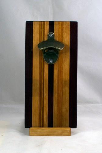 Magic Bottle Opener 17 - 920. Black Walnut, Cherry & Canarywood. Single Magic.