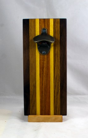 Magic Bottle Opener 17 - 929. Black Walnut, Teak, Yellowheart & Canarywood. Single Magic.
