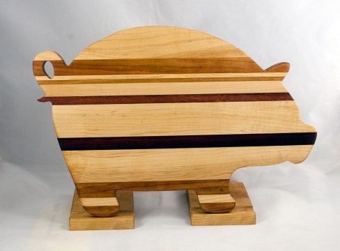 "Pig 17 - 708. Hard Maple, Canarywood, Cherry, Jarrah & Purpleheart. 12"" x 19"" x 1-1/8""."
