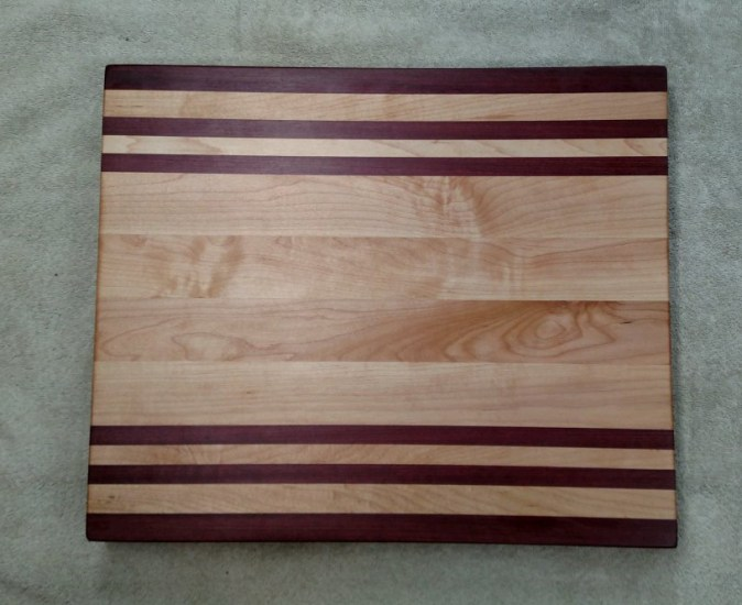 "Cutting Board 17 - 135. Purpleheart & Hard Maple. Edge grain. 12"" x 16"" x 1-1/8""."