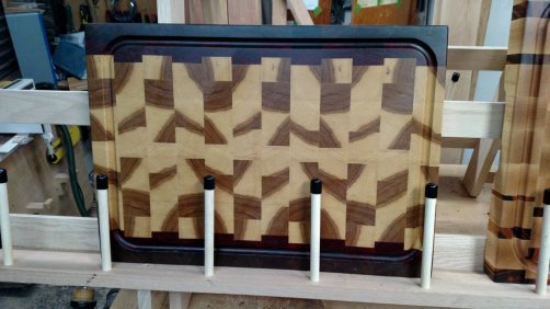 "Cutting Board 17 - 437. Black Walnut, Padauk & Hickory. End grain, juice groove. 16"" x 21"" x 1-1/2""."