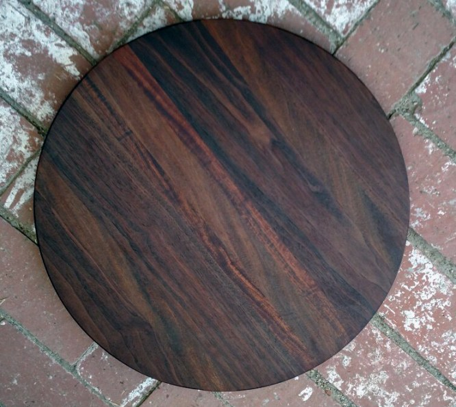 "Lazy Susan 17 - 17. Black Walnut, Caribbean Rosewood & Sapele. 18"" diameter."