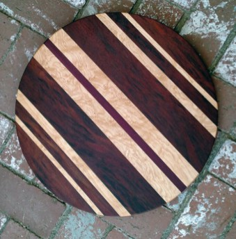 "Lazy Susan 17 - 20. Bubinga, Birds Eye Maple & Purpleheart. 18"" diameter."