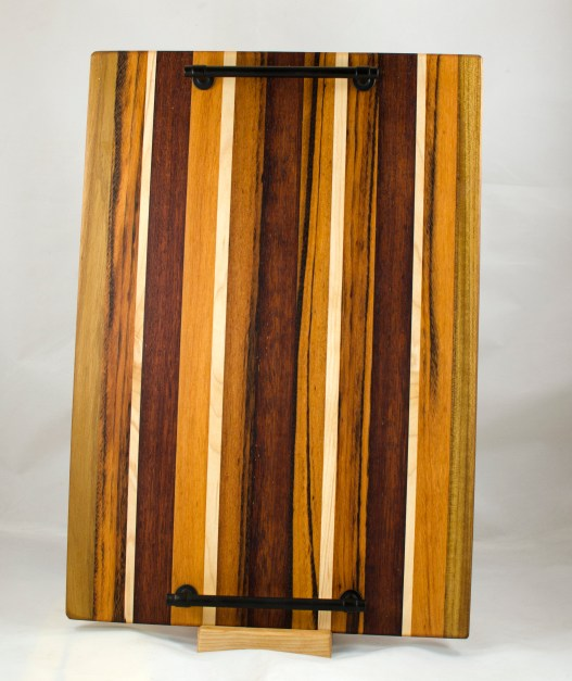 "Serving Tray 17 - 08. Teak, Goncalo Alves, Hard Maple & Merbau. 12"" x 18"" x 3/4""."