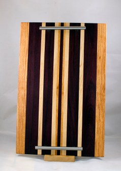 "Serving Tray 17 - 09. Honey Locust, Merbau & Hard Maple. 12"" x 18"" x 3/4""."