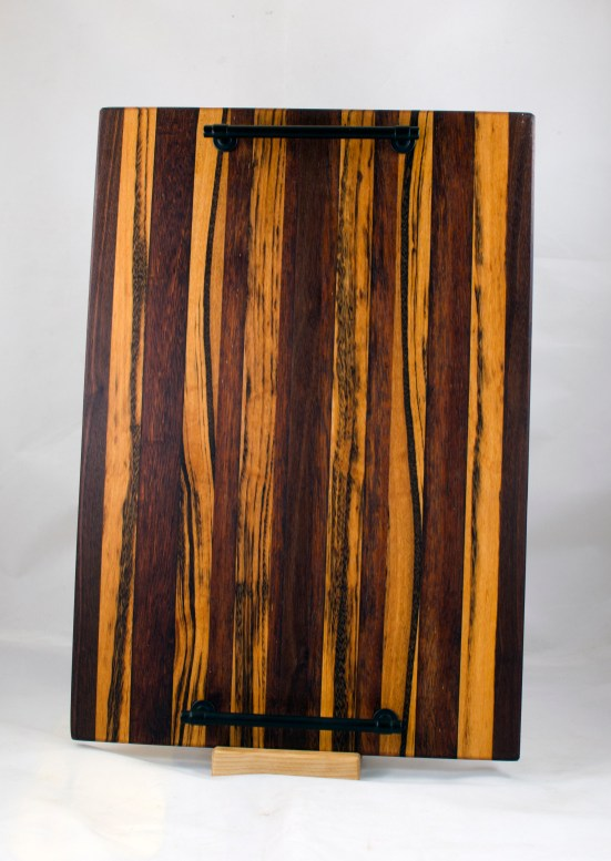 "Serving Tray 17 - 14. Merbau, Goncalo Alves & Black Walnut. 12"" x 18"" x 3/4""."