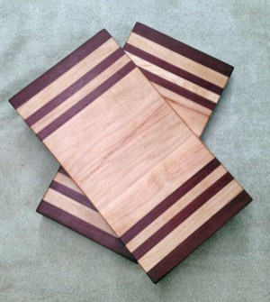 "Small Baord 17 - 237. Purpleheart & Hard Maple. Edge grain. 7"" x 13"" x 1-1/8""."