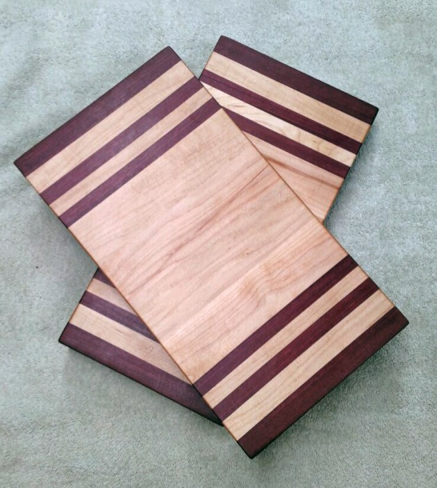 "Small Baord 17 - 237. Purpleheart & Hard Maple. Edge grain. 7"" x 13"" x 1-1/8""."