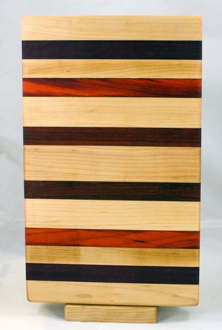 "Small Baord 17 - 238. Hard Maple, Jatoba, Padauk & Bloodwood. 7"" x 13"" x 1-1/8""."