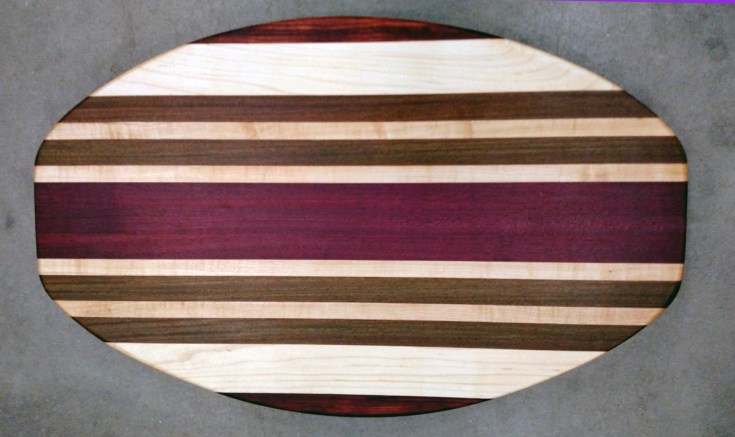 Cheese & Cracker Server 17 - 10. Padauk, Hard Maple, Jatoba & Purpleheart. Sold in its first showing.