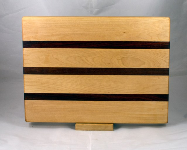 "Cutting Board 17 - 145. 12"" x 16"" x 1-1/4"". Hard Maple, Padauk & Bloodwood."