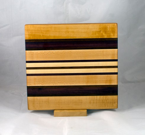 "Small Board 17 - 244. Hard Maple, Jatoba & Purpleheart. 10"" x 11"" x 1""."