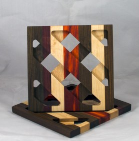 Trivet 17 - 18. Black Walnut, Jatoba, Hard Maple & Padauk.