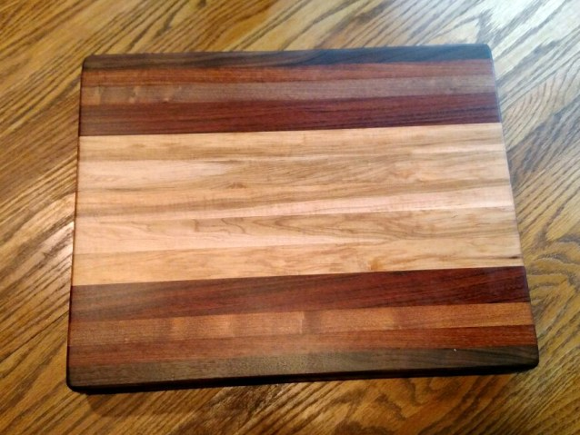 "Cutting Board 18 - 304. Black Walnut, Jatoba, Mesquite & Hard Maple. Edge Grain. Commissioned Piece. 14"" x 18"" x 1-3/4""."